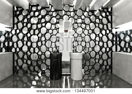 Wall mirror covered in honeycomb decor in luxury modern bathroom with one black and one white sink. 3d Rendering.