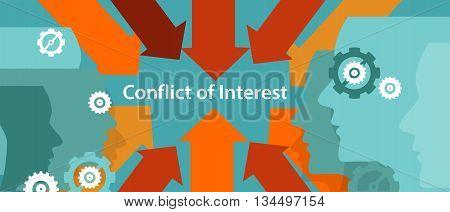 conflict of interest business management problem concept vector poster