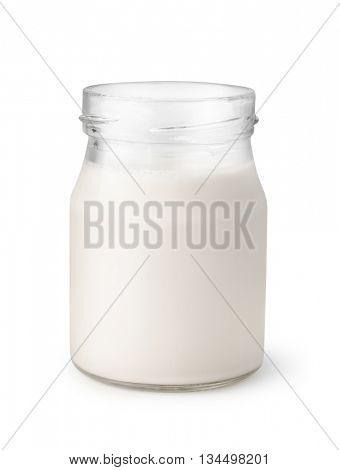 Open glass jar of homemade yogurt isolated on white