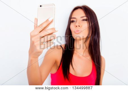 Sexy Pretty Brunette Woman Making Selfie And Pouting