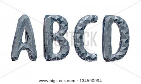 high-tech alphabet set, A, B, C, D, 3d illustration