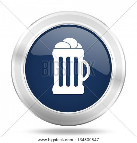 beer icon, dark blue round metallic internet button, web and mobile app illustration