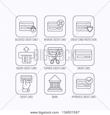 Bank credit card icons. Banking, blocked and expired debit card linear signs. Money transactions and shopping icons. Flat linear icons in squares on white background. Vector