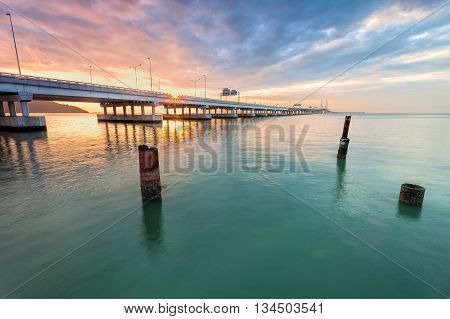 Amazing Sunrise and Sunset by the shore in 2nd Penang Bridge George Town, Penang Malaysia