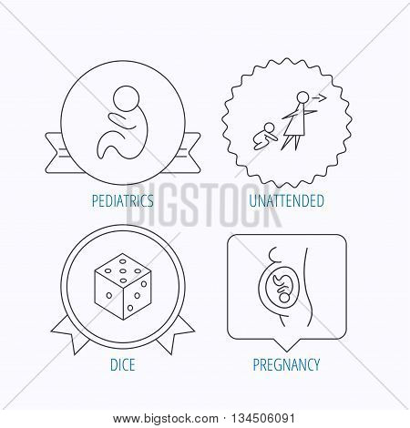 Pregnancy, paediatrics and dice icons. Unattended linear sign. Award medal, star label and speech bubble designs. Vector