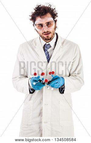 Scientist With Tnt Molecular Model