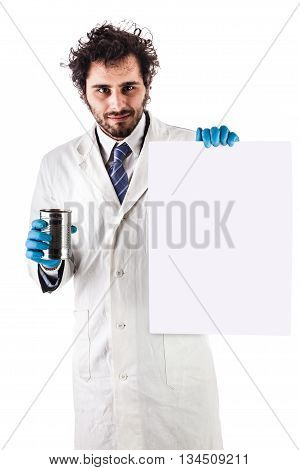 Scientist With Empty Sign