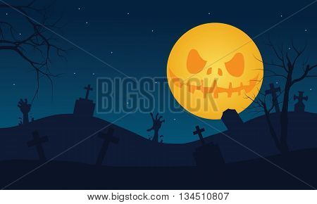 Halloween tomb and scary moon vector illustration
