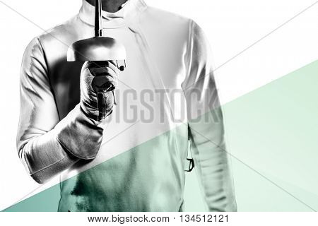 Swordsman holding fencing sword against blue colors
