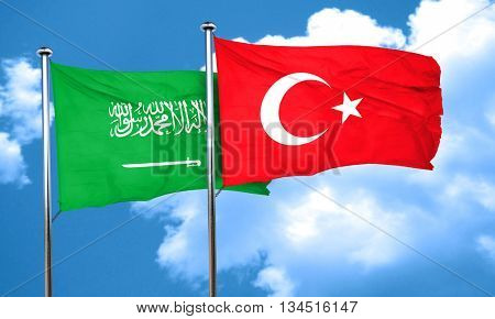 Saudi Arabia flag with Turkey flag, 3D rendering