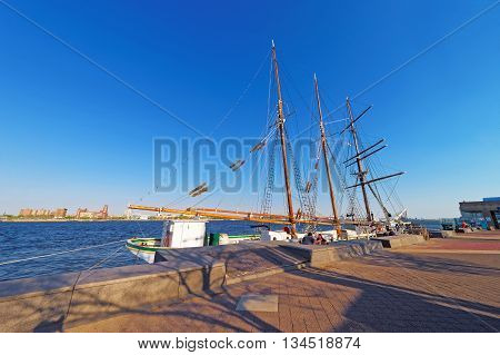 Philadelphia, USA - May 5, 2015: Tall ship at the waterfront of Delaware River of Philadelphia Pennsylvania the USA.