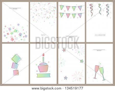 Set of eigth beautiful Cards, Invitations, Flyers, Banners, Pamphlets for Party, Anniversary, Birthday, Wedding or Other Occasion Celebration.