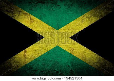 Grunge of Jamaica flag texture background .