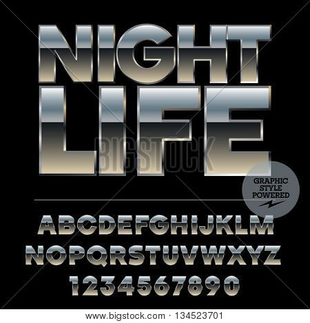 Vector set of alphabet letters, numbers and punctuation symbols. Silver poster with text Night life
