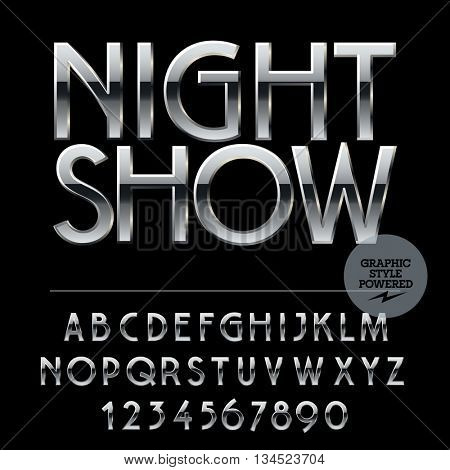Vector set of alphabet letters, numbers and punctuation symbols. Silver logo with text Night show