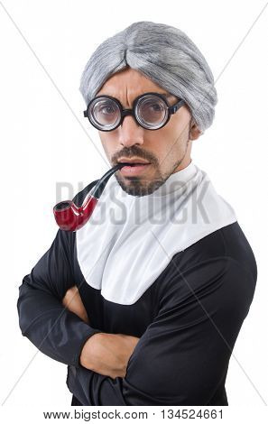 Man wearing nun costume isolated on white