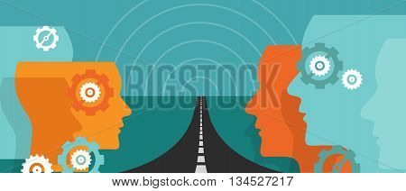 road ahead future concept of change hope plan journey leader vision uncertainty vector