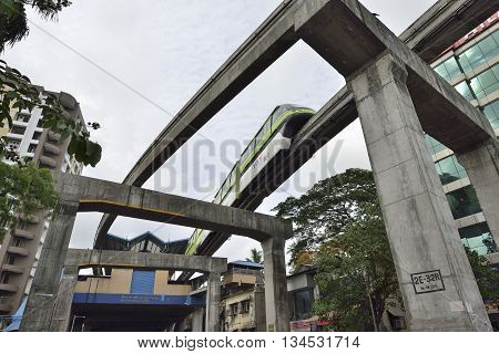Bombay, India - June 10, 2016: Bombay Monorail is a monorail system in the city of Bombay, Maharashtra