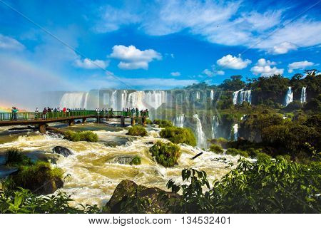 The famous Iguazu Falls, on the border of Brazil and Argentina
