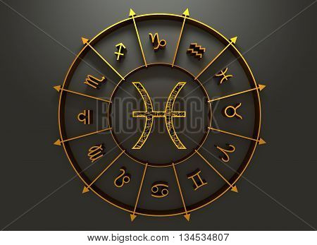 fish astrology sign. Yellow astrological symbol in the circle of others sings. 3D rendering