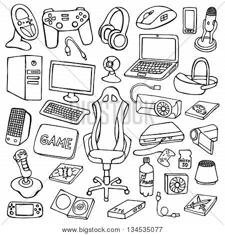 Hand drawn gamer set with doodle elements on white background. Gamer gadgets collection