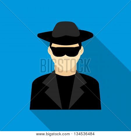 Detective icon in flat style with long shadow. Police symbol