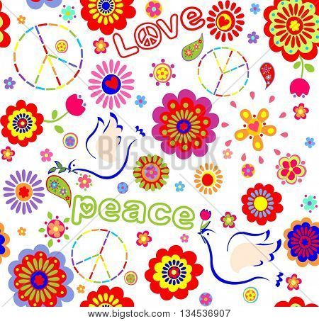 Childish wrapper with embroidered peace symbol, colorful abstract flowers,  and doves