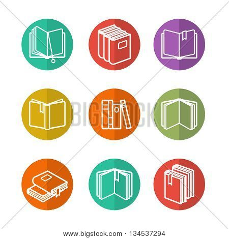 Colorful education icons set with line books isolated vector