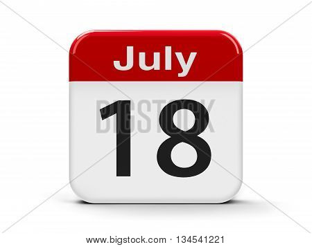 Calendar web button - The Eighteenth of July - Nelson Mandela International Day three-dimensional rendering 3D illustration