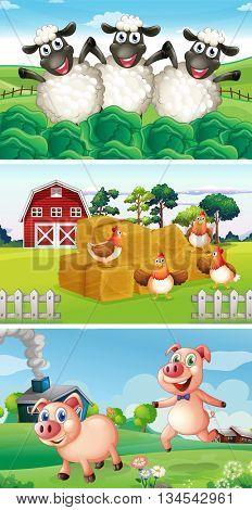 Farm animals living in the farmyard illustration