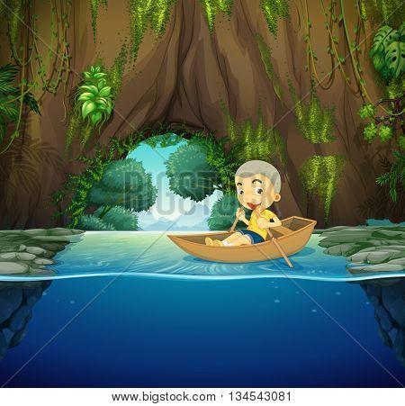 Little boy on wooden rowboat illustration