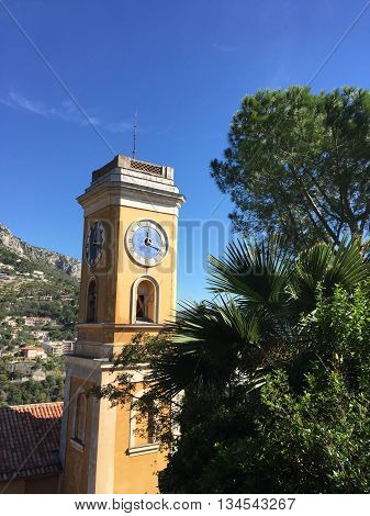 ,TOWER OF CLOCK EZE VILLAGE, SOUTH OF FRANCE