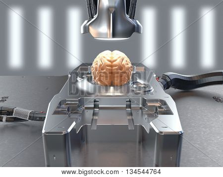 brain lies on a research table top lamp is pointed and made powerful cable on the background of lights.Conceptual illustration. Brain research. Artificial Intelligence. Future of mankind. 3d render