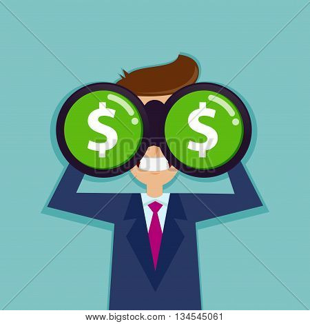 Vector stock of a businessman looking for dollar sign through binoculars