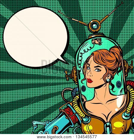 Beautiful futuristic girl in a sexy space suit pop art retro vector. Woman captain astronaut. Science fiction hero female. close up poster