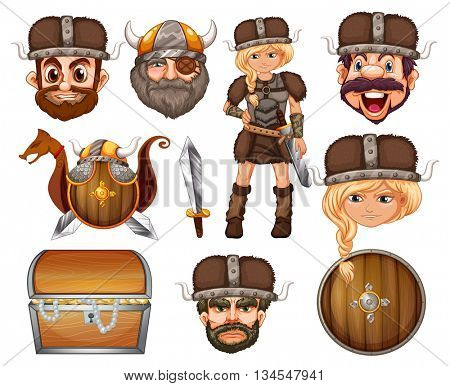 Viking heads and weapons illustration