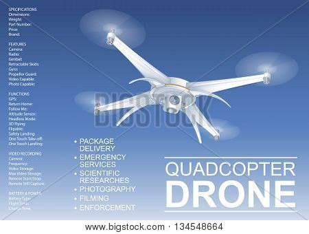 Drone Vector Technical Illustration
