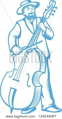 Vector illustration of retro contrabass player cellist isolated on white background.