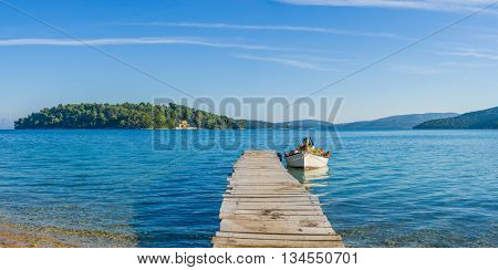 Wooden pier in Nidri island Greece