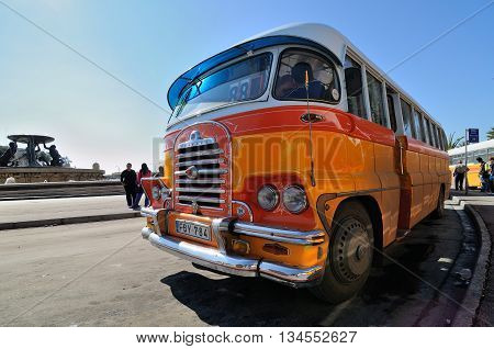 VALLETTA MALTA - APR 18 :The legendary and iconic Malta public buses in the Valletta city bus station in Malta April 18 2011