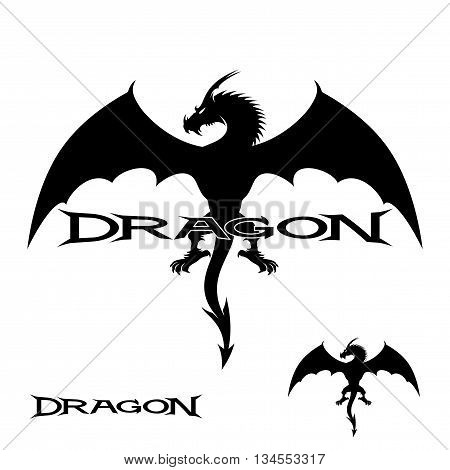 Strong black dragon in flight on a white background.