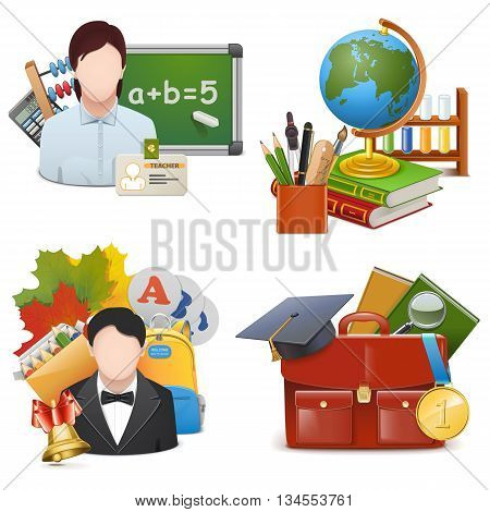 Vector School Concept Icons Set 2 isolated on white background