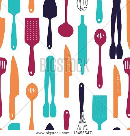 Seamless background with a pattern of silhouette cutlery. Vertical pattern of colored cutlery. Background with kitchen utensils in a cartoon style. Wallpaper with kitchen cutlery. Vector illustration