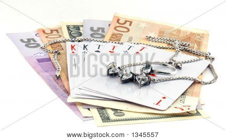 Money, Cards And Jewels Isolated