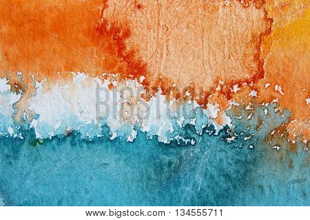 Macro Orange Blue and White Watercolour Background