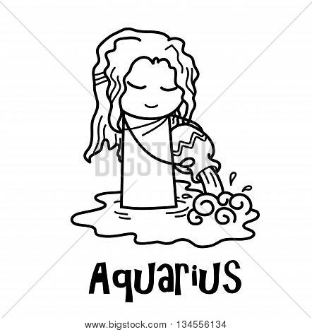 Aquarius Zodiac, a hand drawn vector cartoon doodle illustration of Aquarius zodiac, The Water Bearer.