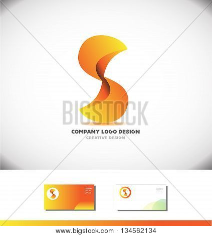 Vector company logo icon element template alphabet letter S 3d design games media advertising