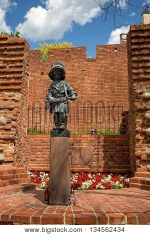 Warsaw, Poland - June 11: Monument to the Little Insurgent on Podwale Street on June 11, 2016 in Warsaw, Poland