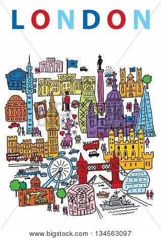 A hand drawn vector illustration of London City England and some of its landmark architecture.