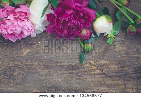 Peony background. Fuchsia, pink and white peonies on wooden table with place for text. Spring flower peony. Happy Mothers Day. Mother's Day greetings card. Mothers Day gift. Copy space. Toned image.